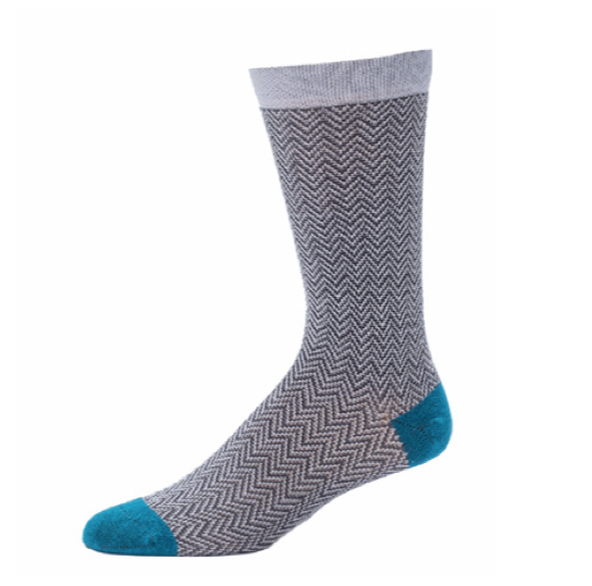 Men's Textured Herringbone Crew Sock- Heather