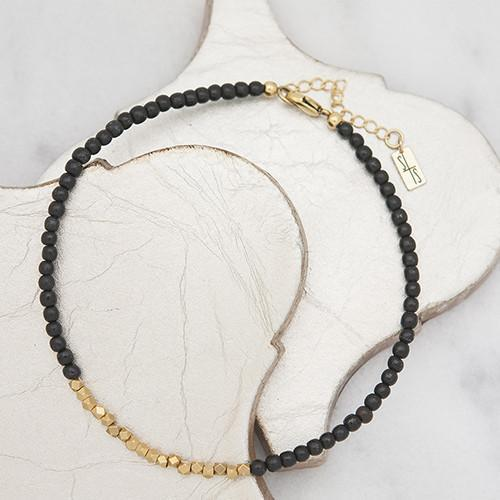 Golden Row Black Choker
