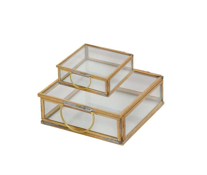 Square Brass Glass Jewelry Box