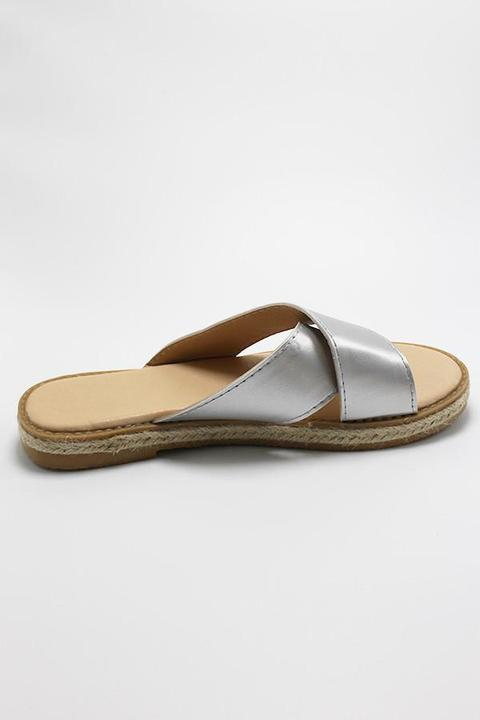 Silver Metallic Cross Sandal