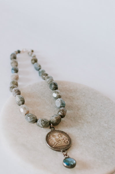 Pearl Knotted Labradorite Coin Necklace
