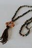 Aqua Terry Jasper Pearl Knotted Tassel Necklace