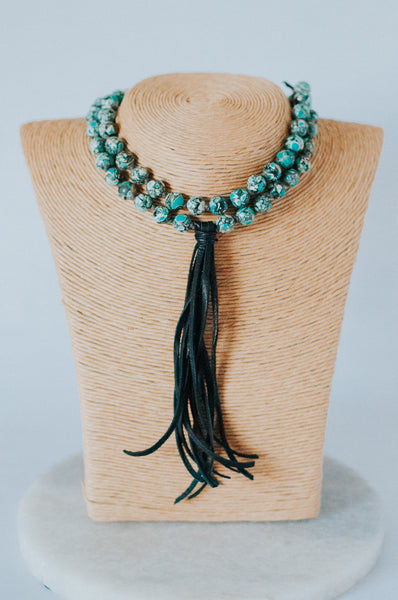 Compressed Turquoise Pearl Knotted Leather Tassel Necklace