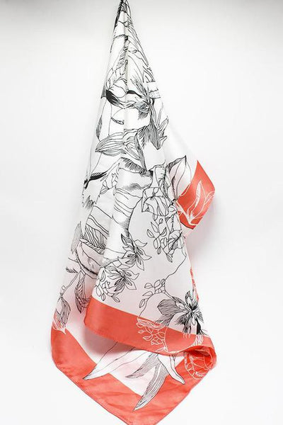 Coral Palm Silk Scarf