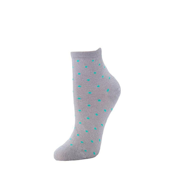 Polka Dot Anklet Sock - Heather + Iced Green