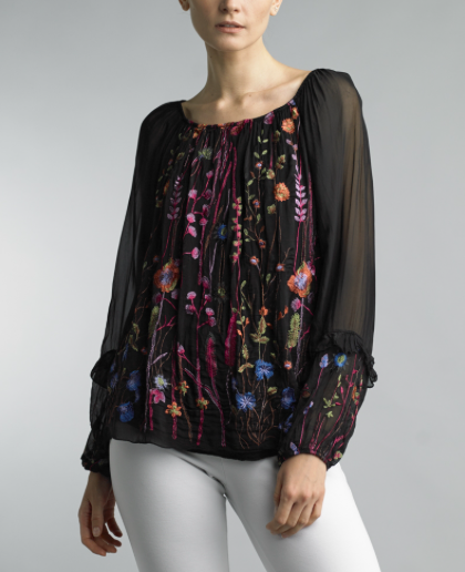 Floral Embroidery Silk Top