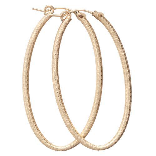 Simply Elegant Textured Oval Gold Hoop Earrings