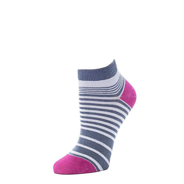 Resort Stripes Anklet Sock - Dove + Orchid