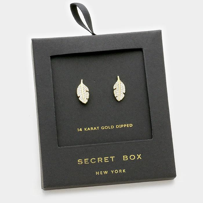 Crystal Leaf Stud Earring Gift Box
