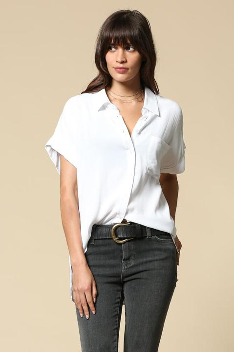 White Buttoned Blouse Top