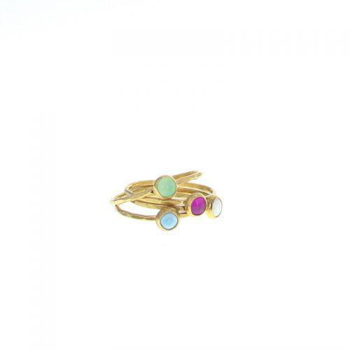 Gold Stone Stacking Rings