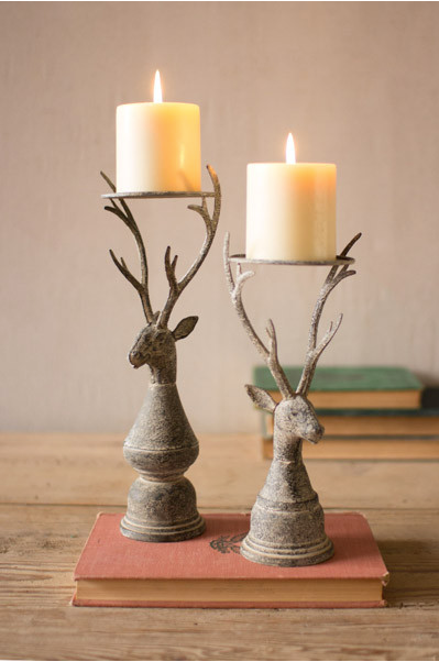 Deer Pillar Candle Holder (Set of 2)
