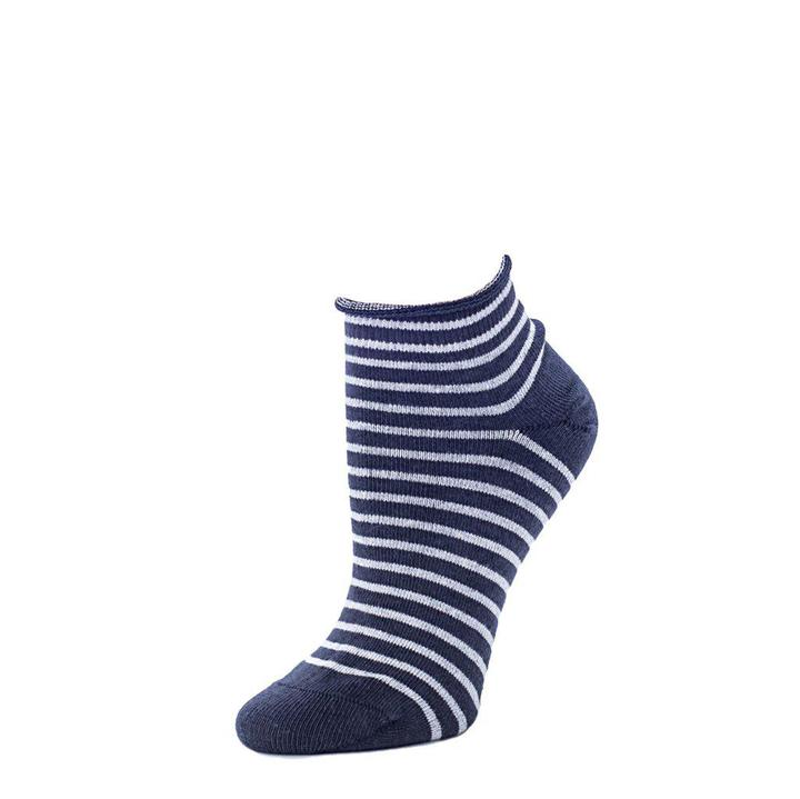Striped Bootie Sock - Navy + Heather