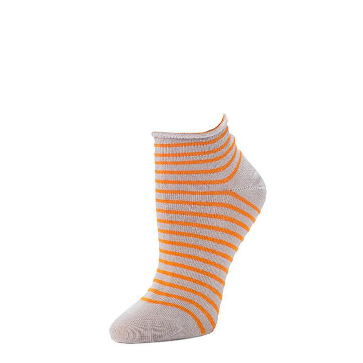 Striped Bootie Sock - Flax + Orange