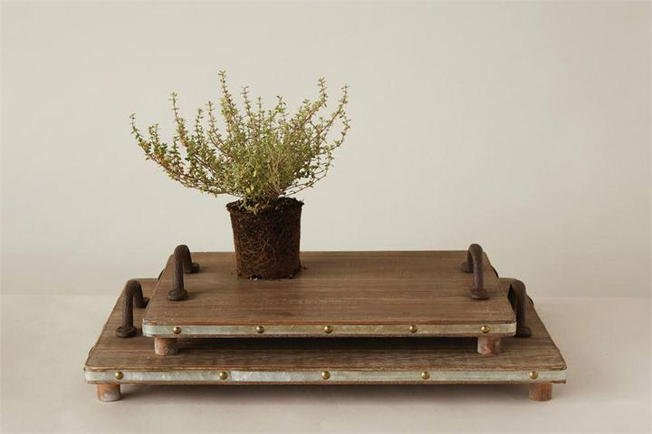 Wood and Cast Iron Trays