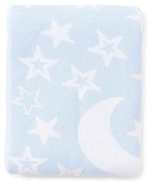Blue Moon & Star Knit Novelty Blanket