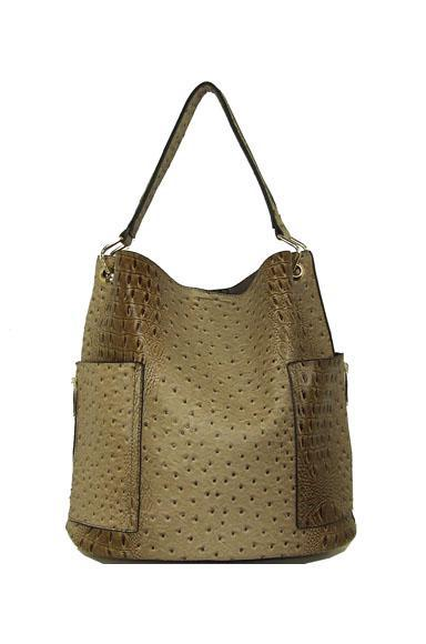 Croc Taupe Oversized Hobo Vegan Leather Tote
