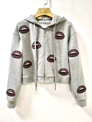 Multi Lips Cropped Hoodie- Youth