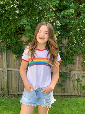Retro Candy Rainbow Tee- Youth