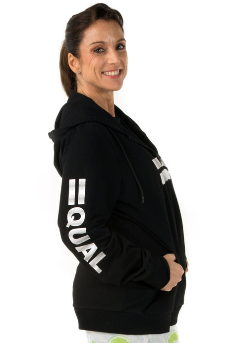 Equal Black Zip Up Hoodie