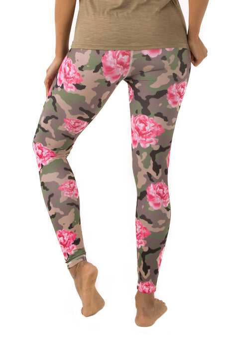 Camo and Peonies Leggings