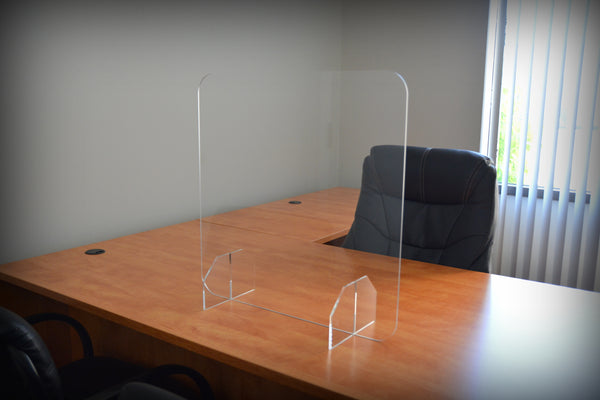 "Acrylic Desktop Protective Shield / Sneeze Guard - 48"" x 24"""