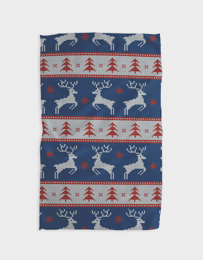 On Prancer Kitchen Tea Towel