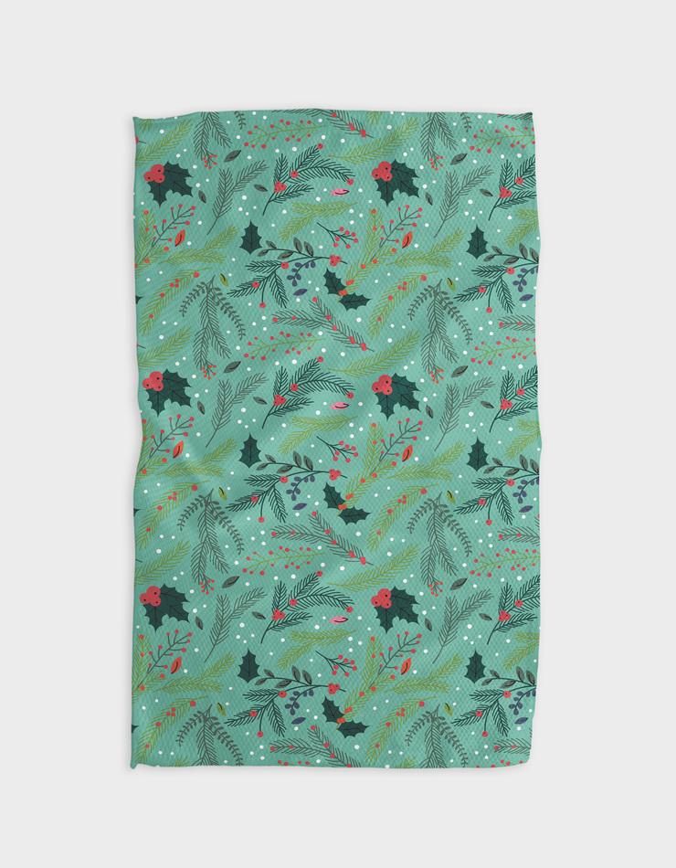 Branches Holly Blue Kitchen Tea Towel