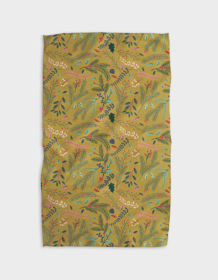 Branches Holly Ochre Kitchen Tea Towel