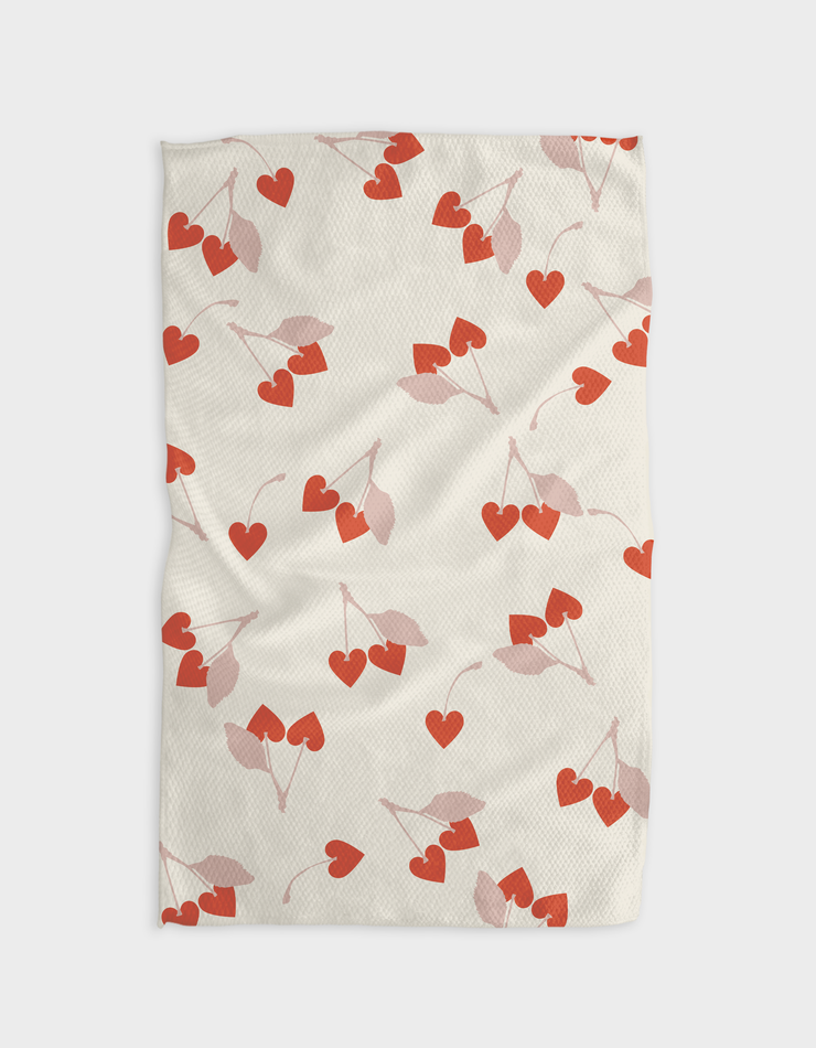 Cherry Hearts Kitchen Tea Towel