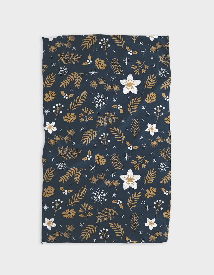 Gold Blossoms Night Kitchen Tea Towel