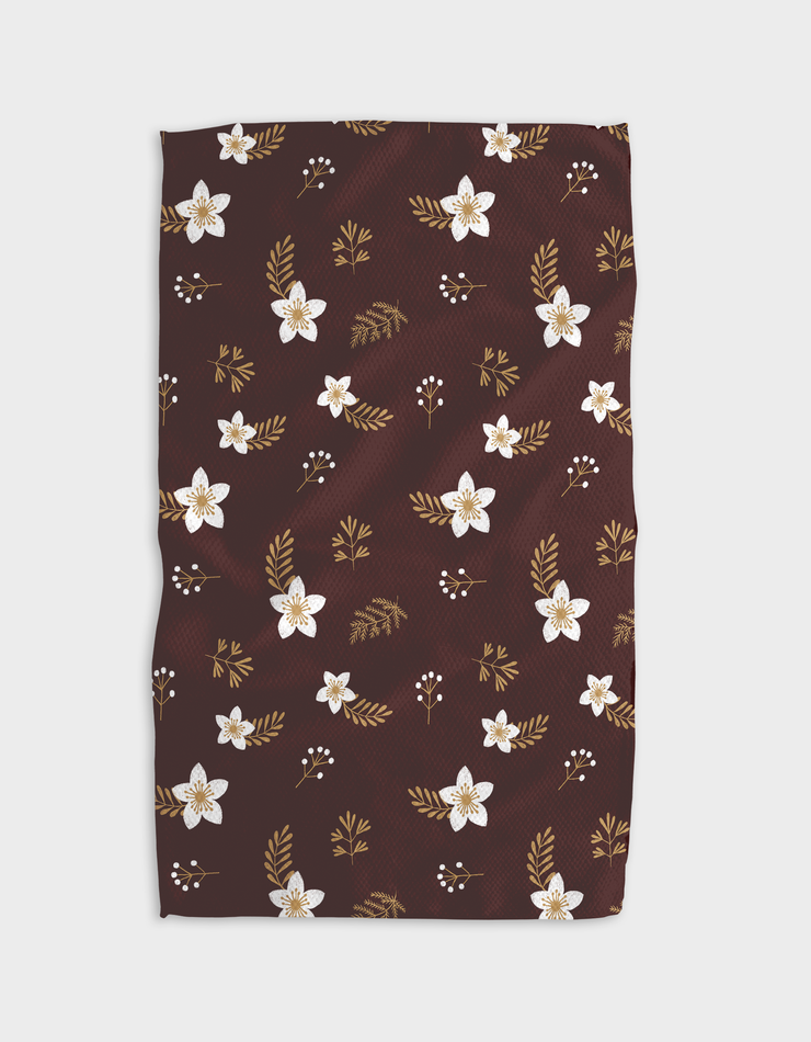 Gold Blossoms Kitchen Tea Towel