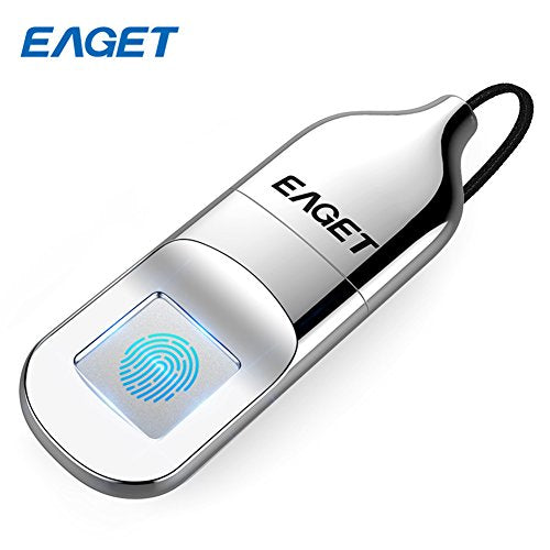 EAGET FU5 Fingerprint Encryption USB Flash Drive Fingerprint U Disk 32G / 64G Data Security Protection Identification Business Office Metal Silver (32G)