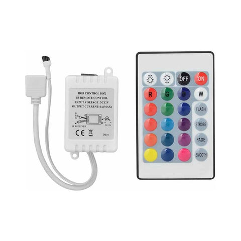 RGB LED Light Control Box W/ IR 24-Key Remote Control (DC 12V)