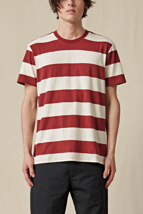 T-shirt Globe - Dion Agius Striped Tee in Ox Blood