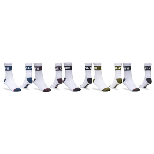 Globe Horizons Crew Sock 5 Pack in White Assorted