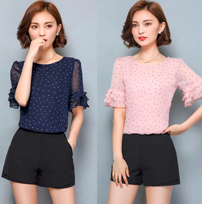 Tops  Chiffon Dot Print Thin Shirt Blouse