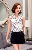 Chiffon Blouse shirt Women Printed Sleeveless