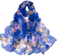 Blue color Floral Printed Scarves Elegant Ladies Casual Long Soft Wrap Scarf.