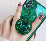Green emerald marble pattern diamond extension bracket shiny silicone cover case for iphone MAX XS
