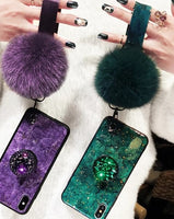 Marble Fashion Hair Ball Lanyard Round Shiny Diamond Stand Soft cover case for iphone MAX XS