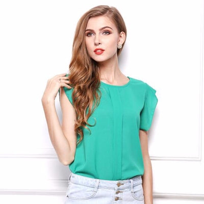 New Fashion Ruffle Short Sleeve Chiffon Clothing