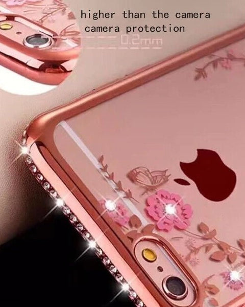 Glitter Diamond Frame Case Cover For iphone XS, MAX Soft clear Transparent Rhinestone flower pattern