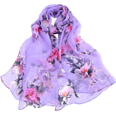 Purple color Floral Printed Scarves Elegant Ladies Casual Long Soft Wrap Scarf.