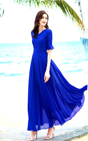 B Chiffon V Neck Slim Ruffles Long Dress