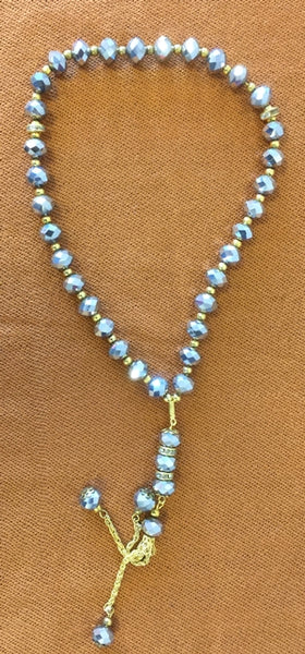 Islamic Tasbih 33 Crystal Beads Diamond cut design light blue color