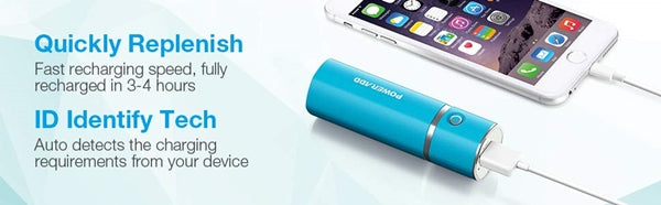 Super Poweradd Slim 2 Most Compact 5000mAh External Battery 2.1A Ouput Portable Charger with Smart Charge for iPhones, iPad, Samsung Galaxy, HTC and More - Blue