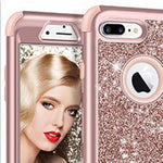 iPhone 7 & 8 Plus Case, Glitter Bling Shiny Heavy Duty Protection Full-body Protective Rose Gold Color.
