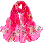 Pink color Floral Printed Scarves Elegant Ladies Casual Long Soft Wrap Scarf.