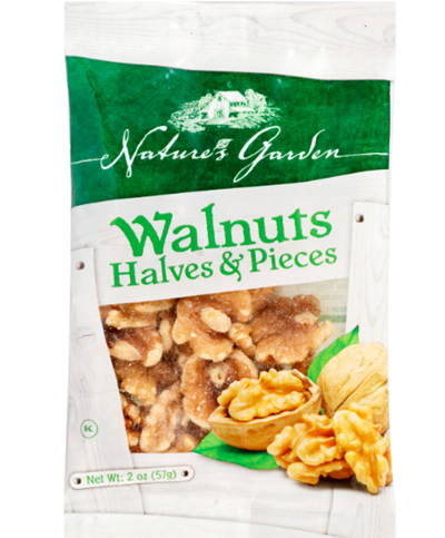 Walnut Halves and Pieces, 2 oz. Bags Natures Garden